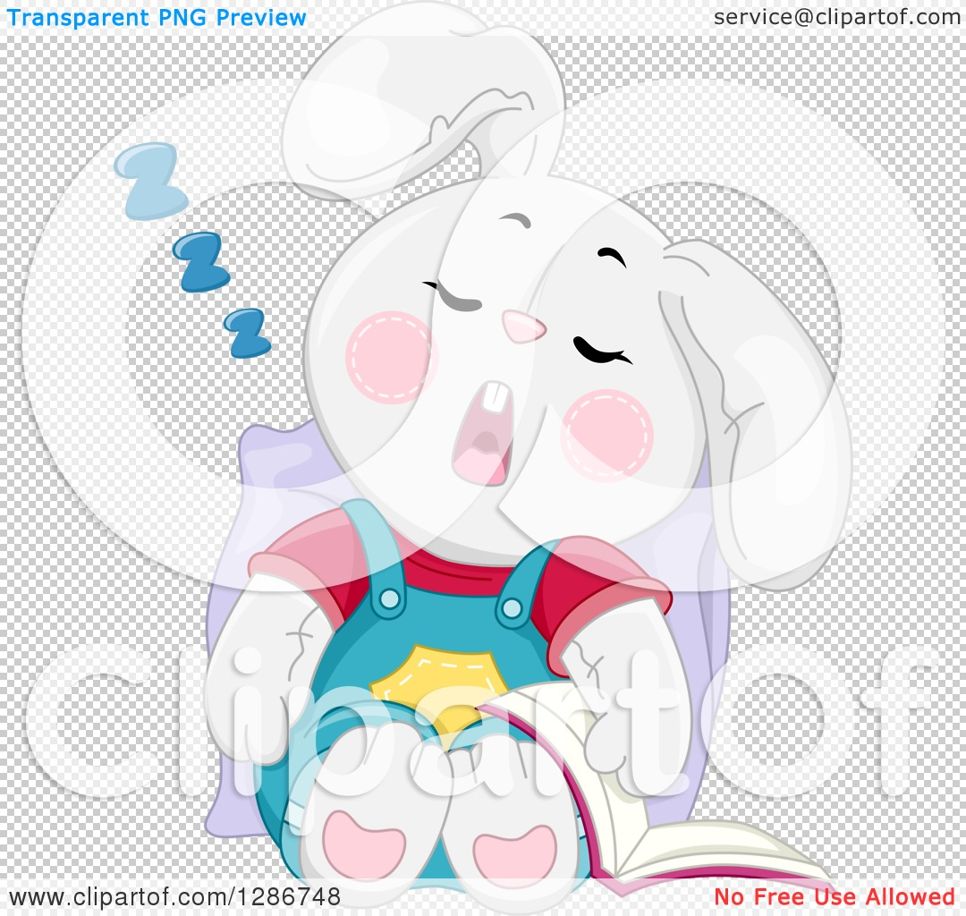 Clipart of a Tired White Bunny Rabbit Sleeping Upright with a Book.