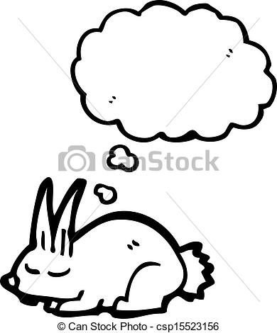Clipart Vector of cartoon little rabbit sleeping csp15523156.