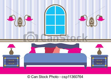 Clip Art Vector of Bedroom.