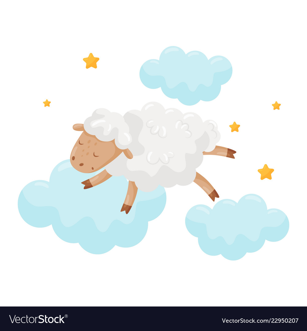 Cute little sheep sleeping on a cloud lovely.