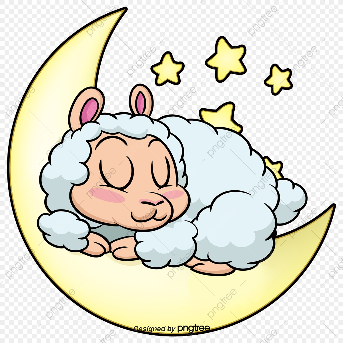 Sleeping On The Moon Sheep Eid Al Adha, Moon, Sheep, Star.