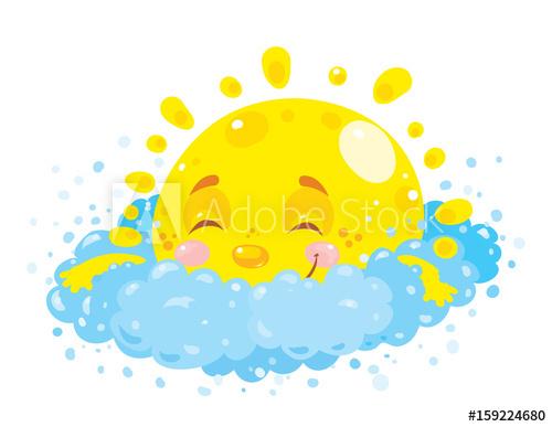 Little happy cartoon sun cute is sleeping on a soft and.