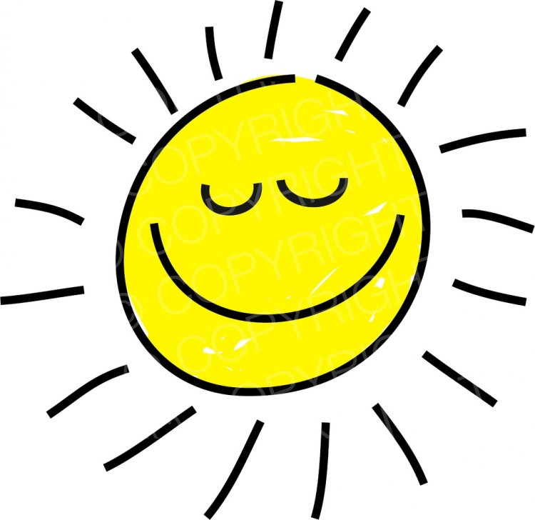Happy Cartoon Sleeping Sun Prawny Sky & Weather Clip Art.