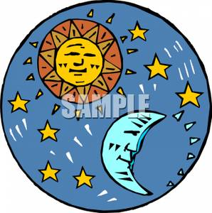 A Smiling Sun With A Sleeping Moon And Stars.