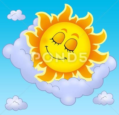 Sleeping Sun with pillow on sky Stock Illustration #AD.