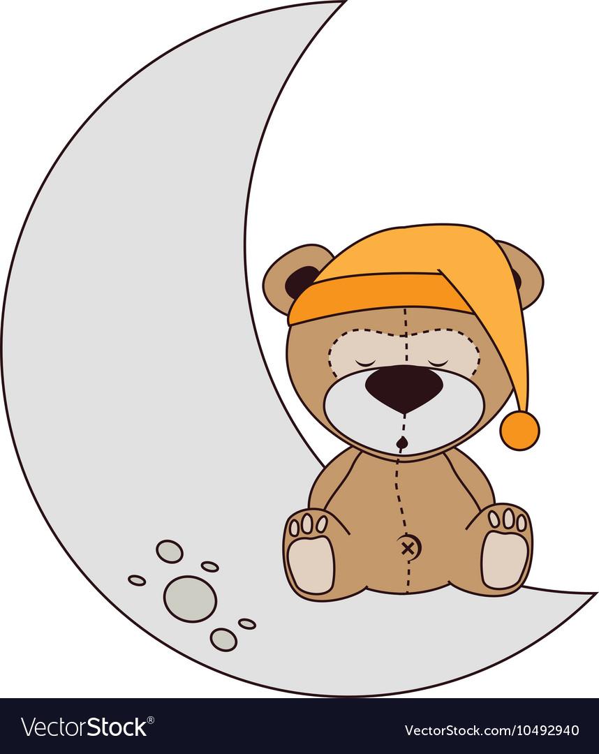 Bear moon sleep design isolated.