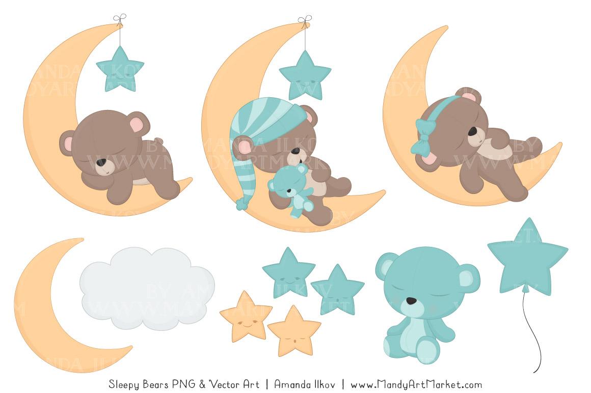 Sleeping Bears Clipart Sets.