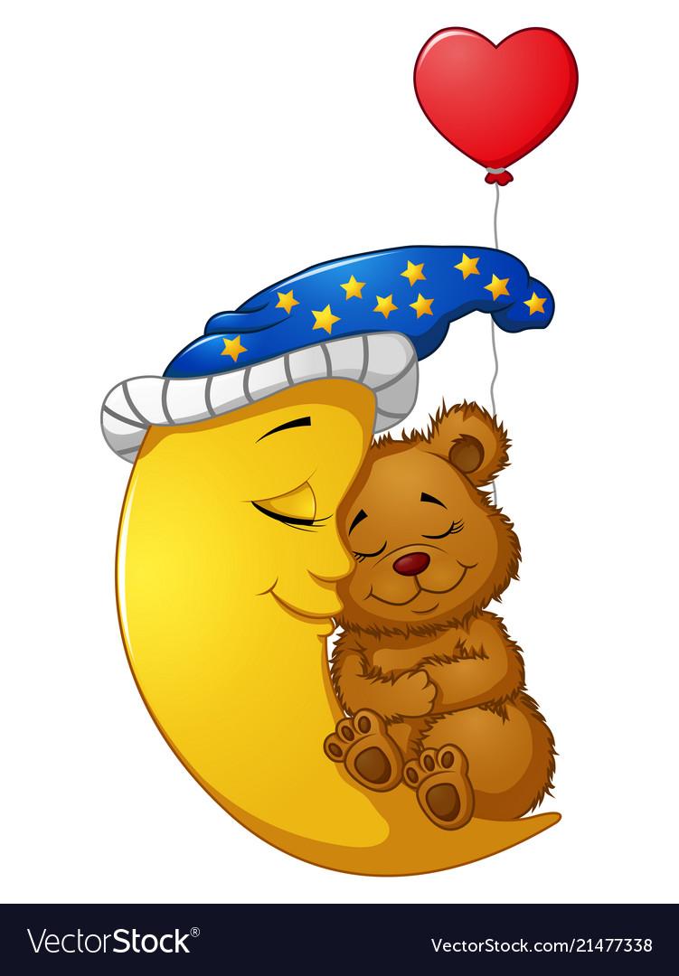 Cartoon teddy bear sleep on the moon.