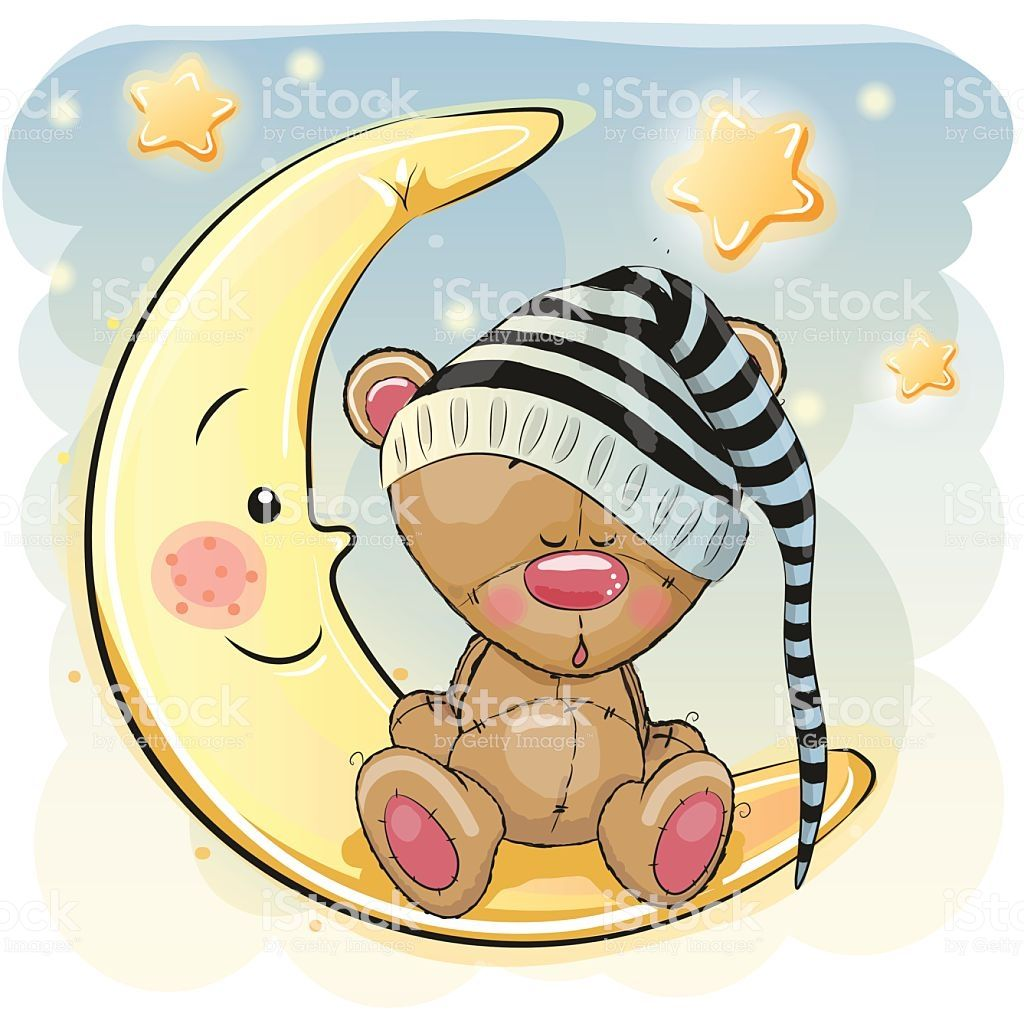 Cute Cartoon Teddy Bear is sleeping on the moon.