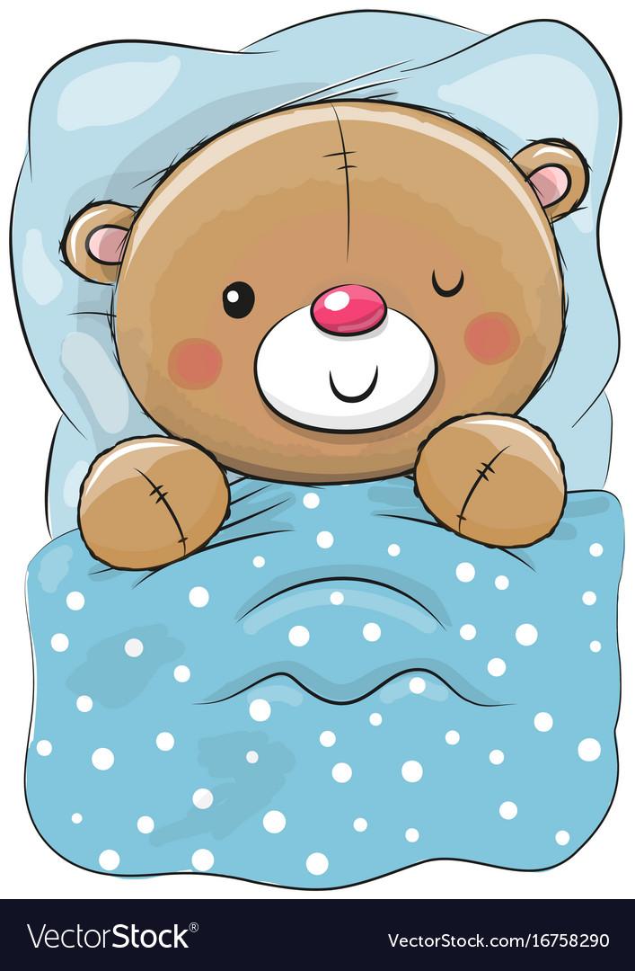 Cute cartoon sleeping teddy bear.