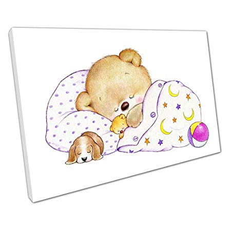 Print on Canvas Sleeping Teddy bear with puppy Kids Cartoon.