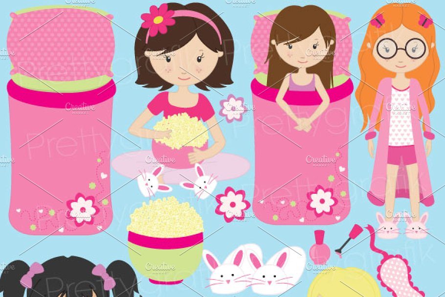sleepover clipart for scrapbooking.