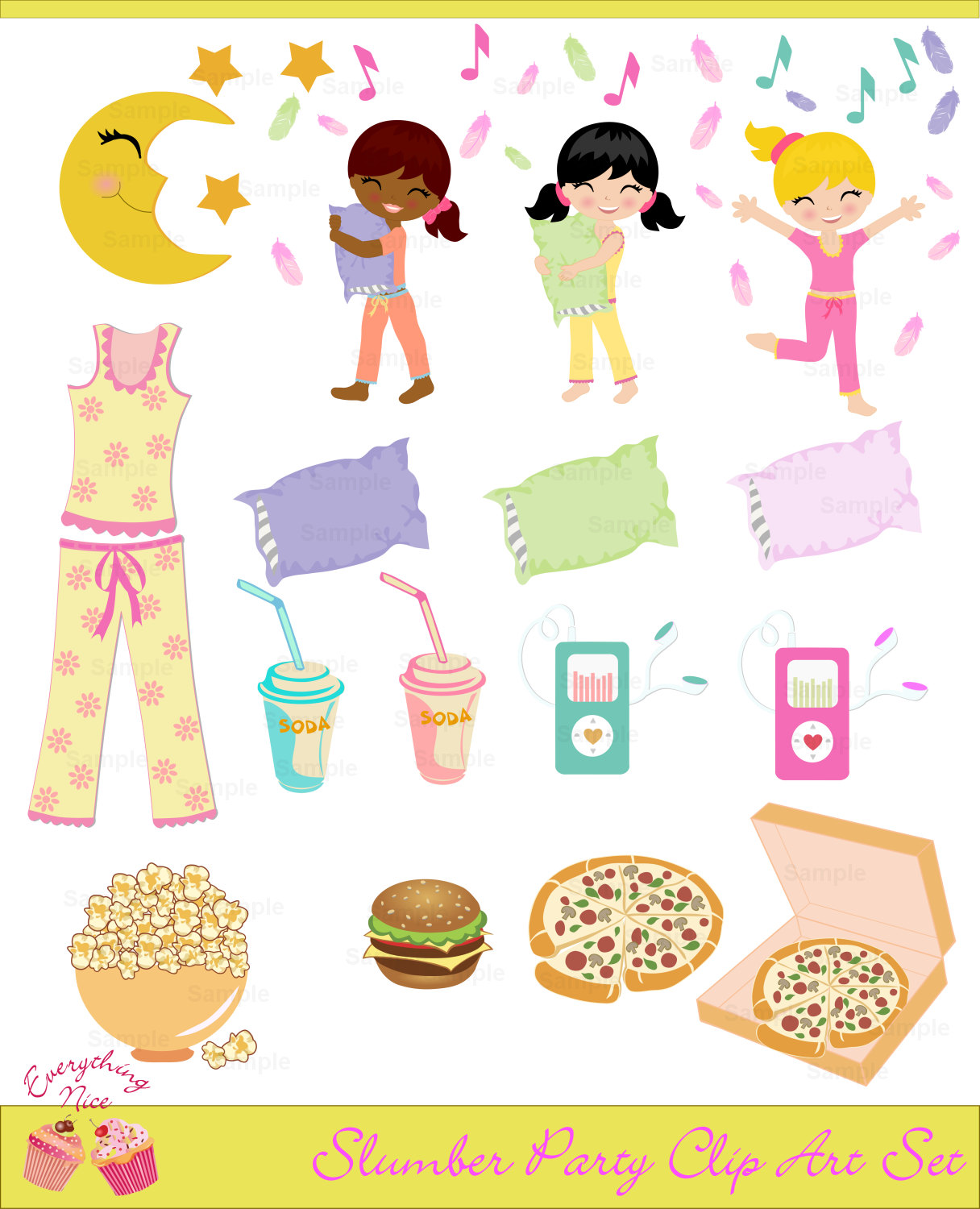 61+ Slumber Party Clipart.
