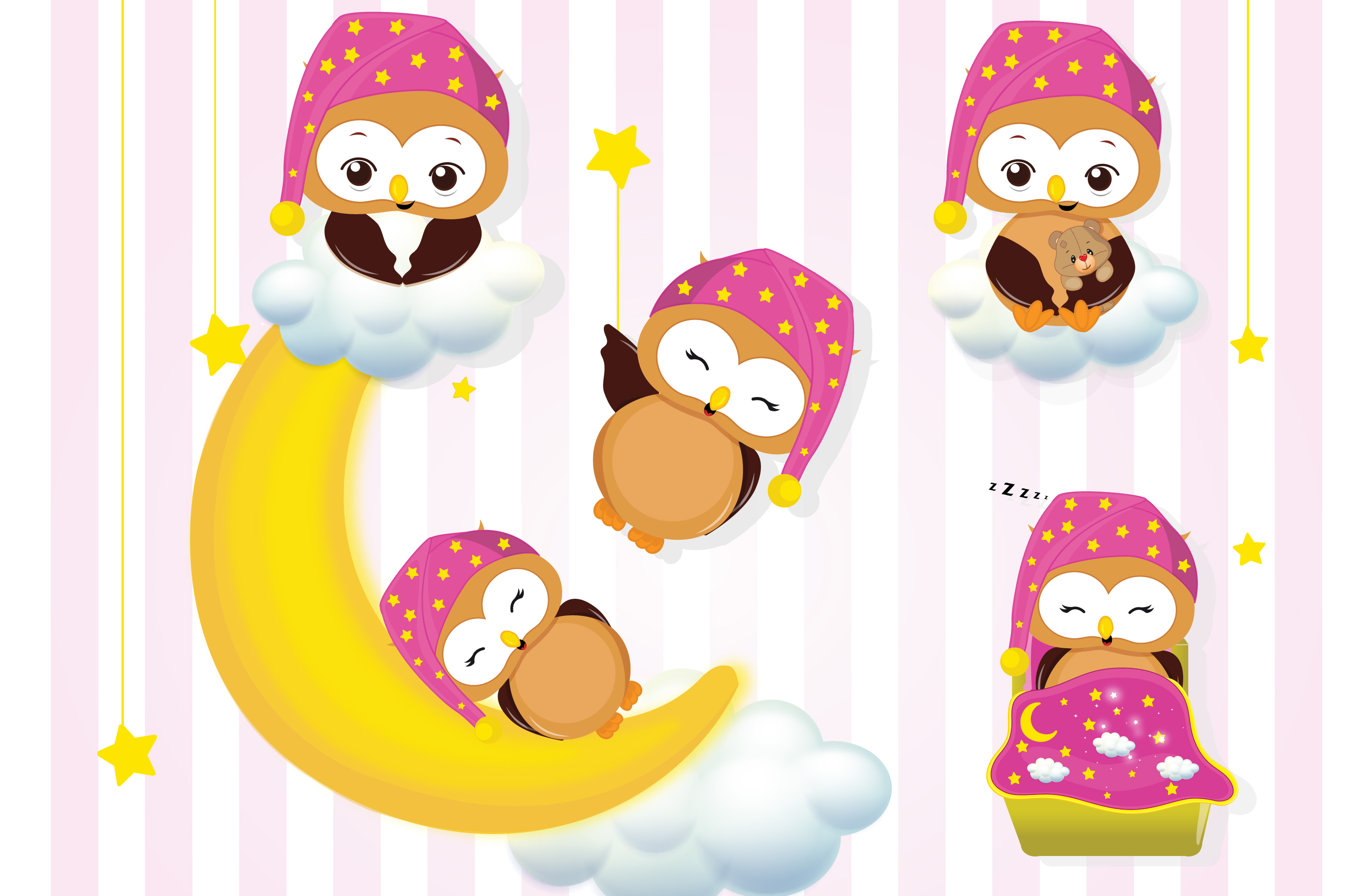 Girl owls sleepover party graphics, Girl owls clipart set.