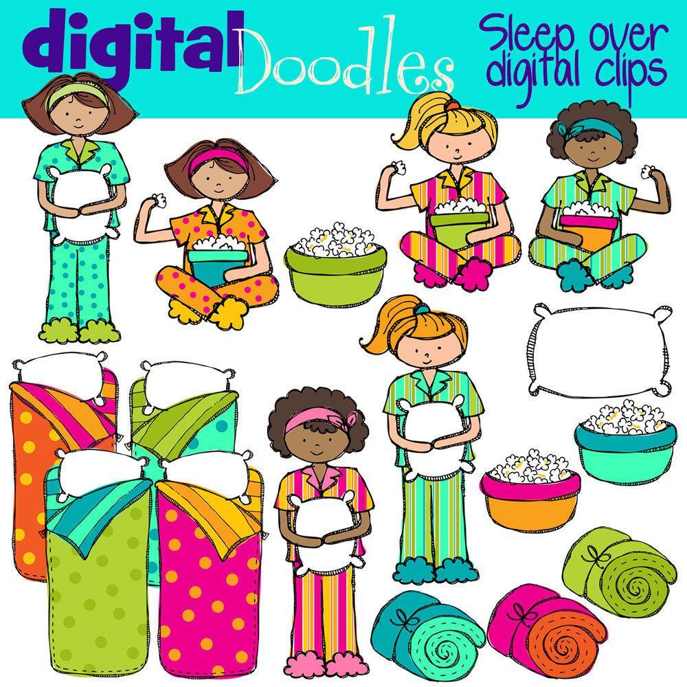 KPM Sleep over Slumber party digital clip art.