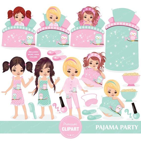 Sleepover clipart, Pajama party clipart, Slumber clipart.