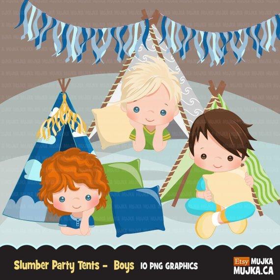 Slumber party clipart, sleepover tents, movie night, pajama.