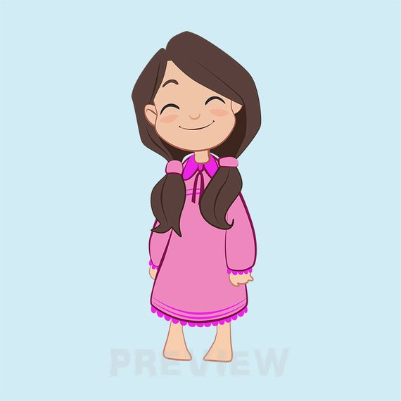 Pajama Girl Clipart, slumber party clipart, pajama girl.