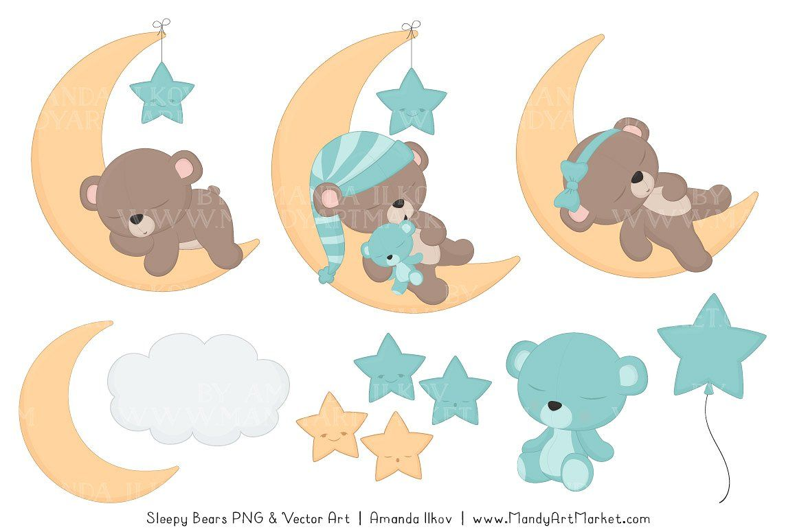 Aqua Sleepy Bears Clipart #theme#aqua#color#beary.