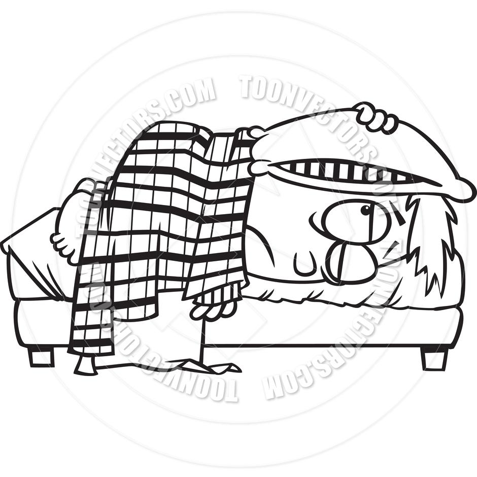 Cartoon Sleepyhead (Black and White Line Art) by Ron Leishman.