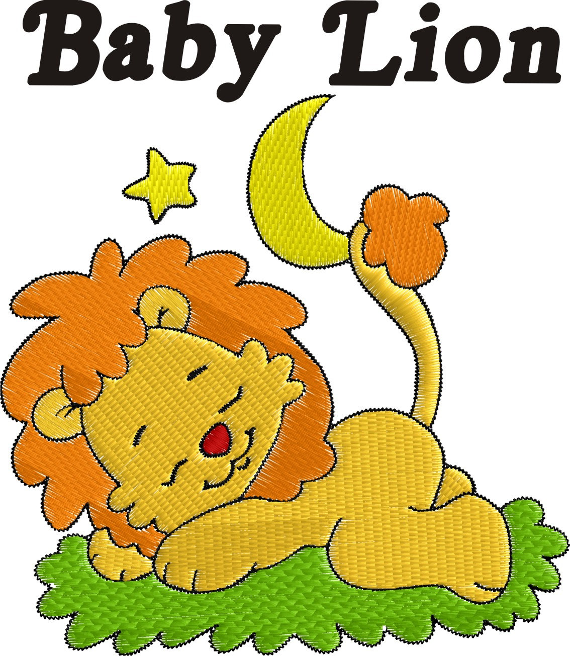 Sleeping Lion Clip Art.