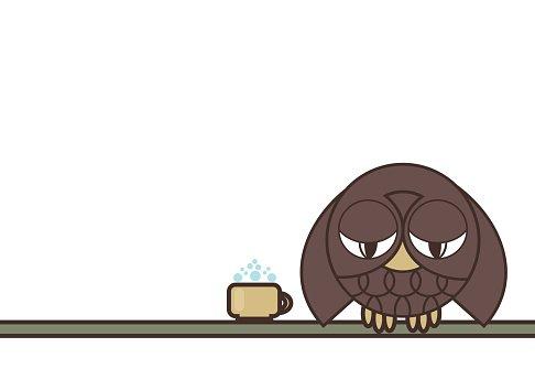 Sleepy Owl With Mug of Coffee Sitting ON premium clipart.