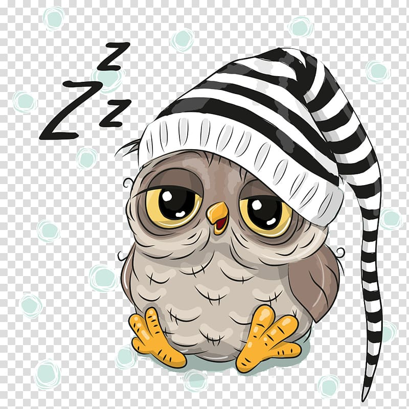 Sleepy owl wearing striped hat illustration, Owl , Hand.