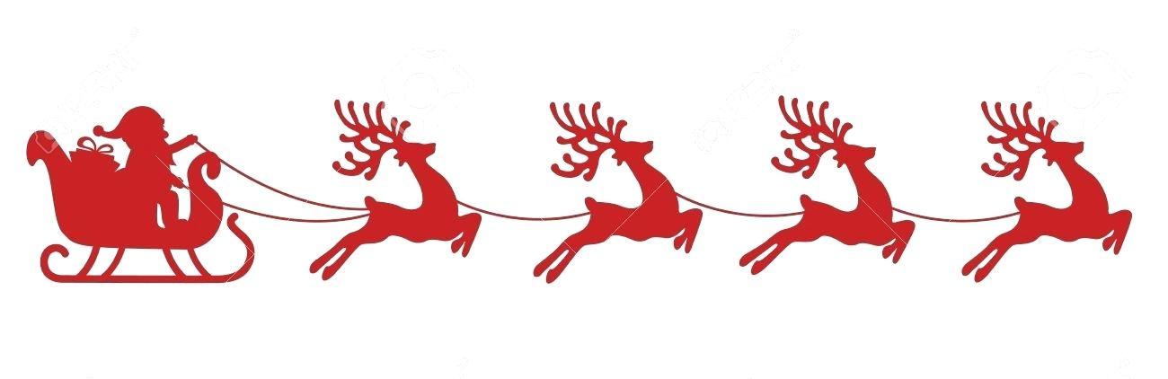Santa Sleigh Sleigh Reindeer Red Silhouette Stock Vector.
