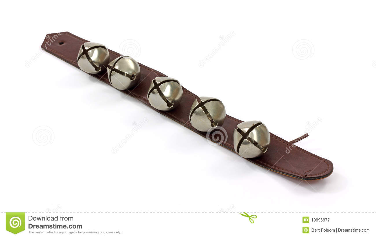 Metal Bells On Leather Strap Royalty Free Stock Photography.