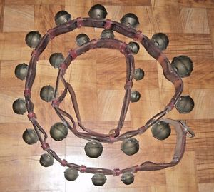 Antique 1800s Horse Sleigh Bells 25 Graduated Bells On Double.