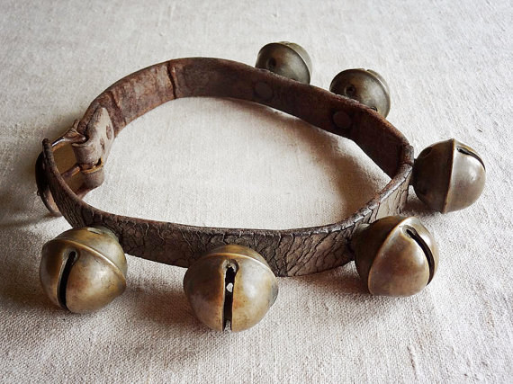 RESERVED FOR K vintage sleigh bells on leather strap, 18 brass.