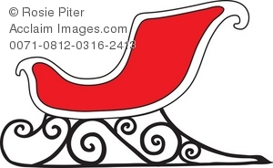Royalty Free Clipart Illustration of a Christmas Sleigh.