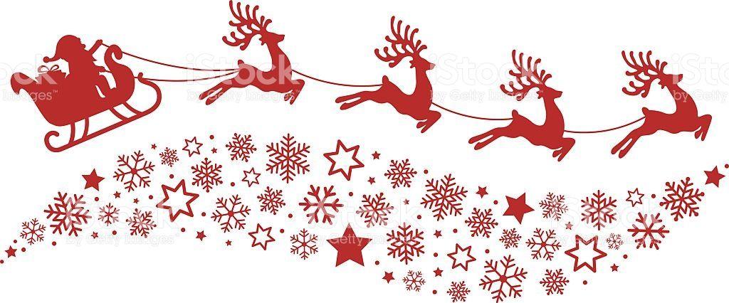 santa sleigh reindeer flying snowflakes red silhouette.