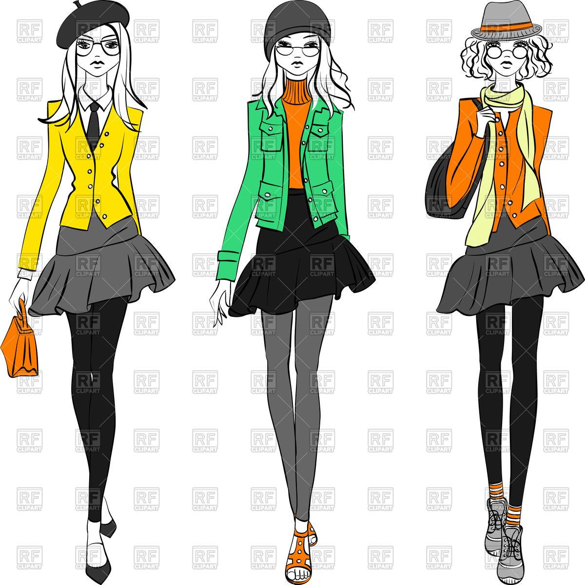Slender beautiful fashionable hipster girls.