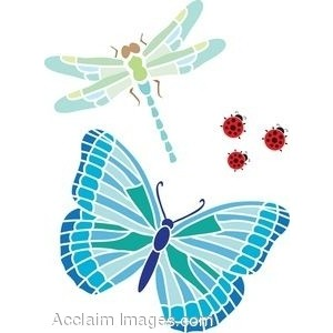 Clip Art Of A Butterfly With A Dragonfly And Ladybugs.