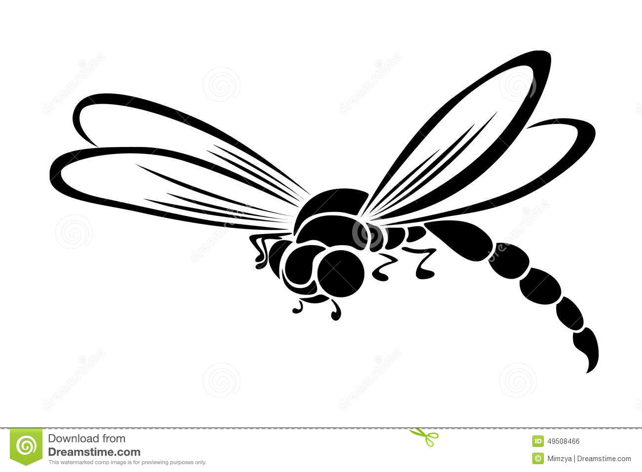 Black Stylized Dragonfly Flying Insect Stock Vector.