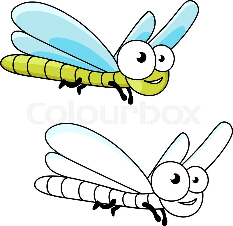 "Buy Vector ""Cartoon smiling green dragonfly insect with long."