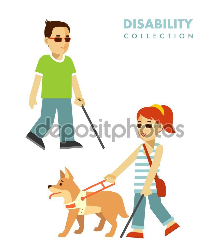 Postižení nevidomý koncept. Slepí lidé sada — Stock Vektor.