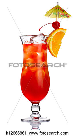 Stock Photography of Red alcohol cocktail in with orange slice.