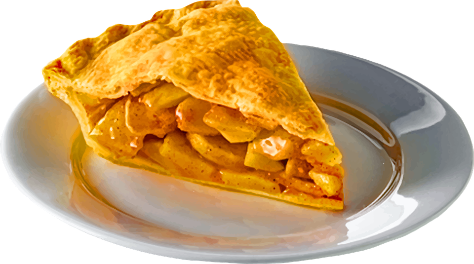 HD Apple Pie Slice Plate Food Sweet Tasty Pastry.