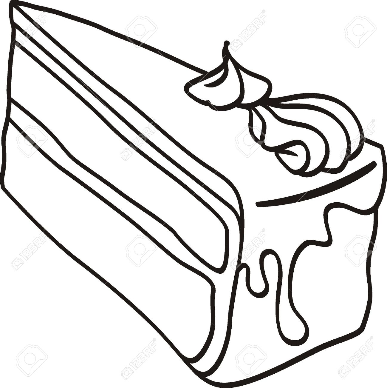 Slice of cake clipart black and white 5 » Clipart Station.