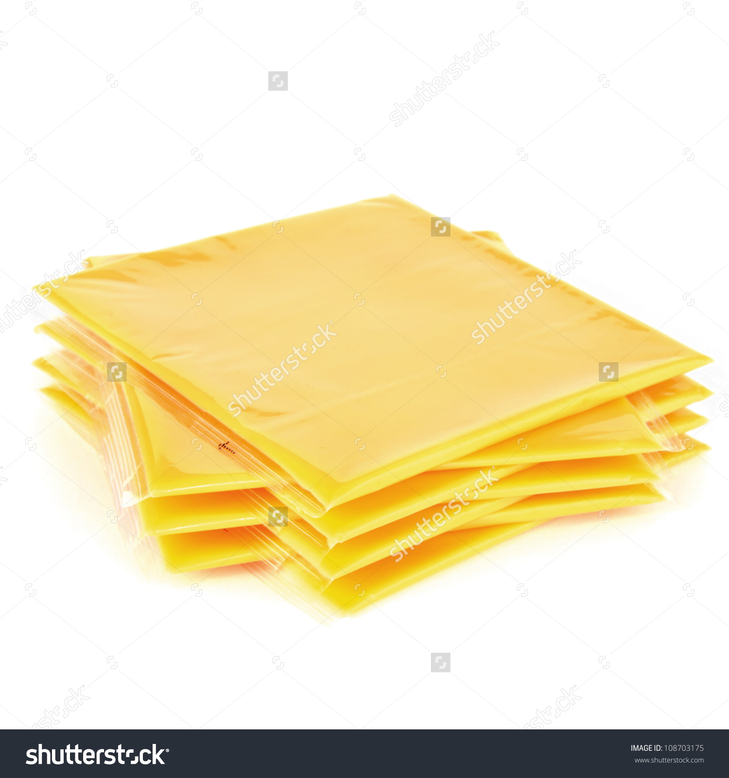 Slices Processed American Cheese On White Stock Photo 108703175.
