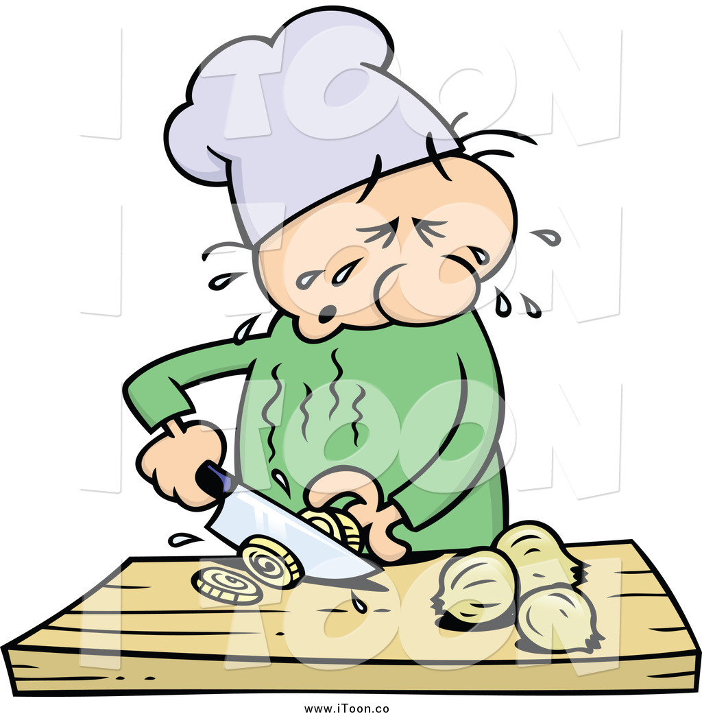Royalty Free Cartoon of a Chef Guy Crying and Slicing Yellow.