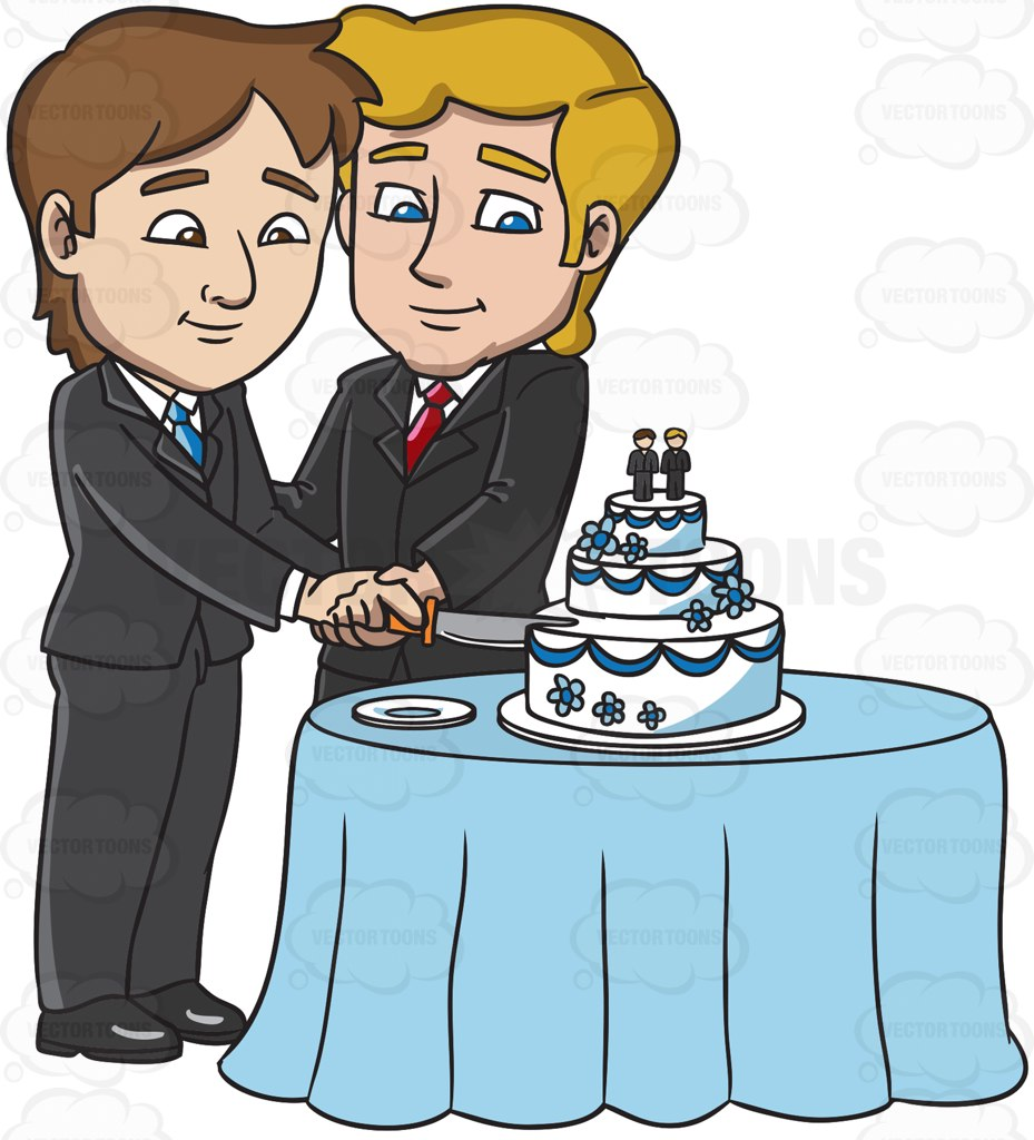 A Married Gay Couple Slicing Their Wedding Cake Cartoon Clipart.