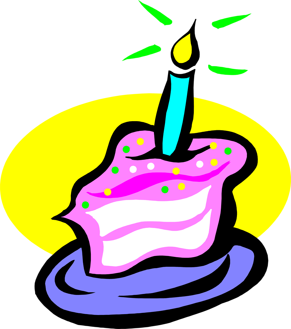 Clipart woman slicing birthday cake.