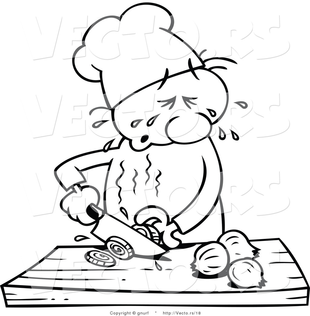 Vector Line Drawing of a Cartoon Chef Slicing Onions While Crying.