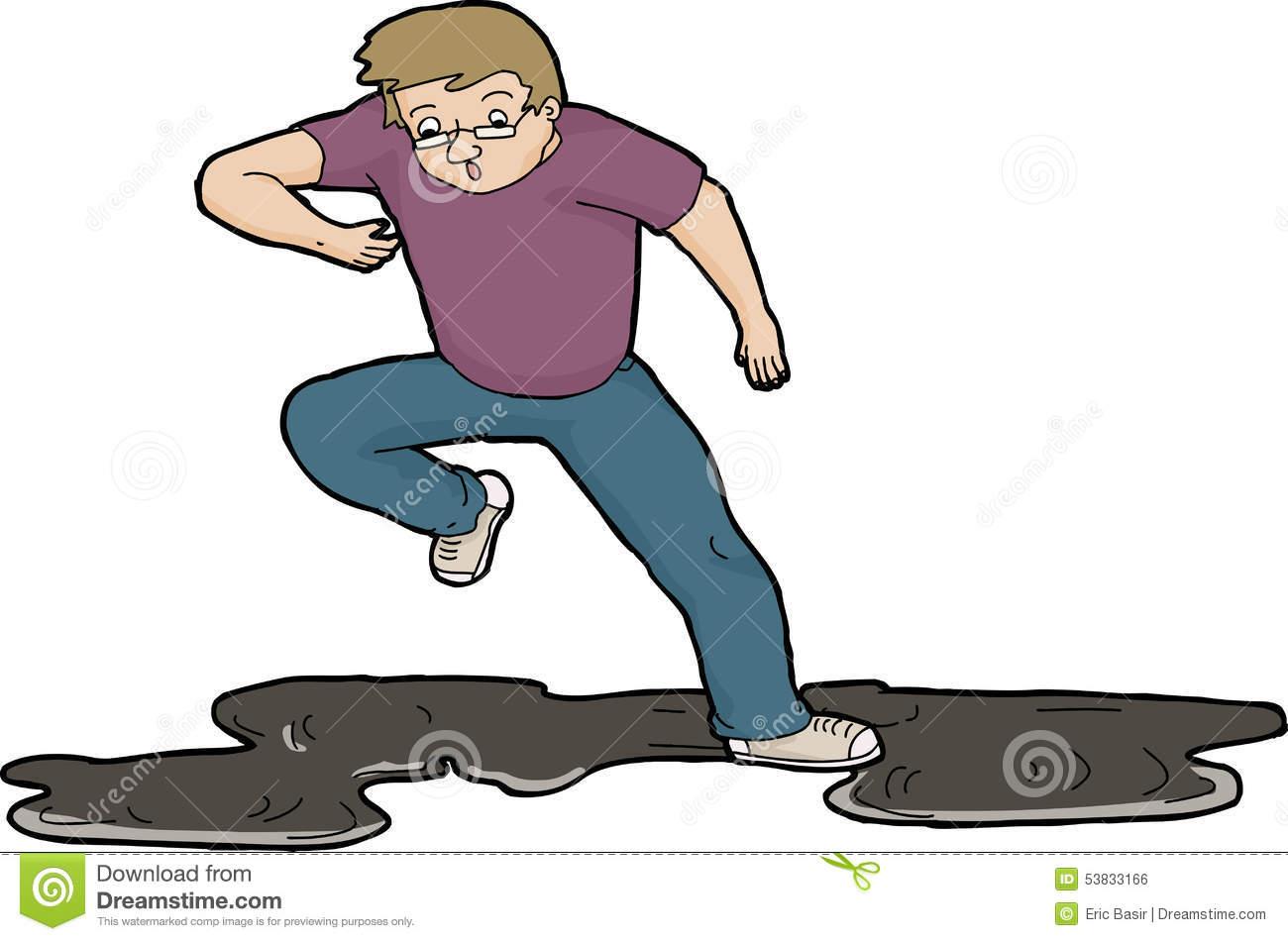 Man Slipping On Oil Stock Illustration.