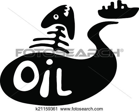 Clipart of fish bone in oil slick, water pollution concept.