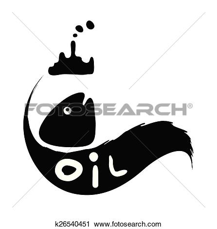 Clipart of fish in oil slick, water pollution concept k26540451.