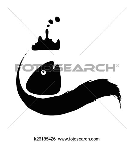 Clip Art of fish in oil slick, water pollution concept k26185426.